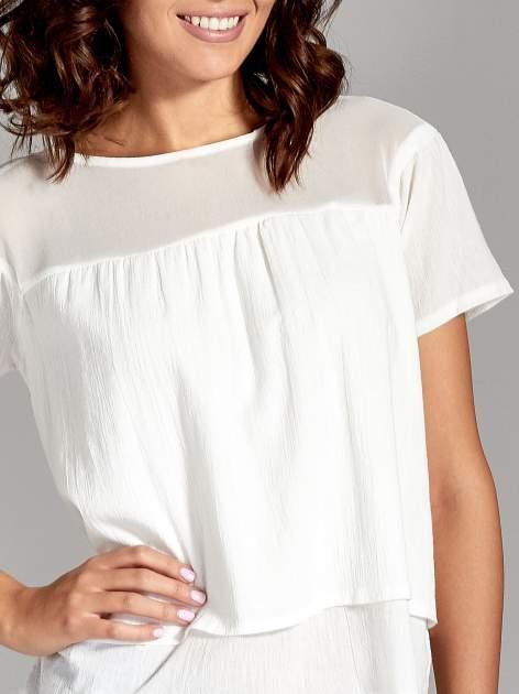 Biała dwuwarstwowa bluzka koszulowa z transparentnym karczkiem                                  zdj.                                  5