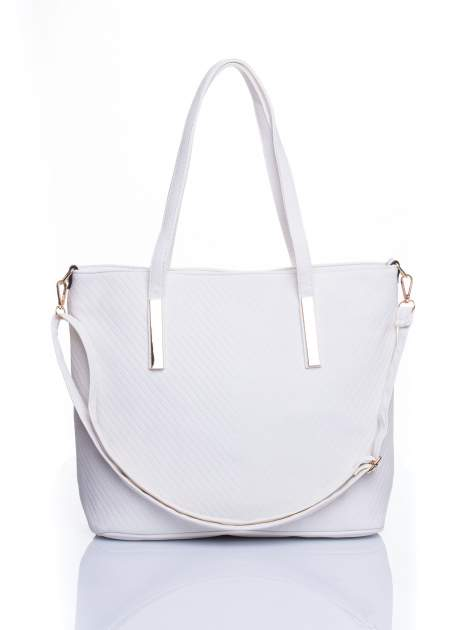 Biała fakturowana torba shopper bag                                  zdj.                                  1