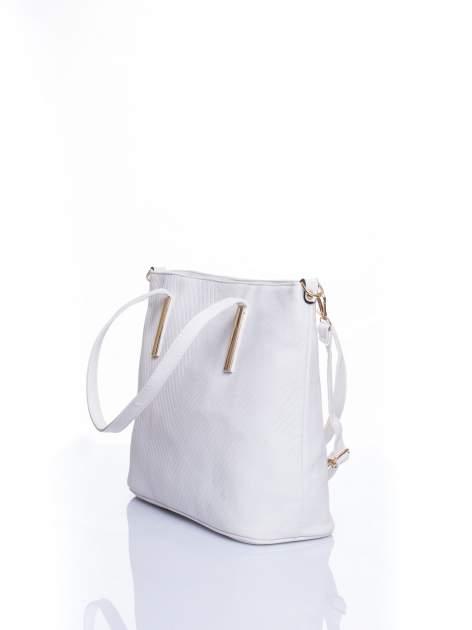 Biała fakturowana torba shopper bag                                  zdj.                                  4