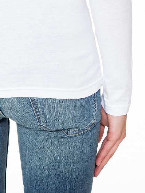 Biała gładka bluza z bawełny z rękawami 3/4                                  zdj.                                  6