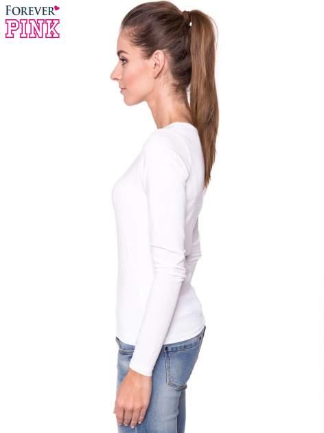 Biała gładka bluzka z długim rękawem                                  zdj.                                  2