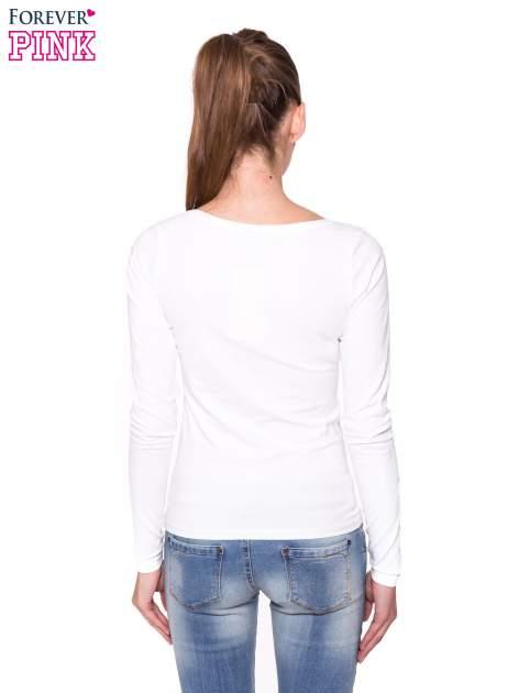 Biała gładka bluzka z długim rękawem                                  zdj.                                  3