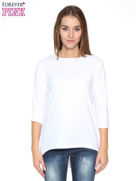 Biała gładka bluzka z dłuższym tyłem                                  zdj.                                  1