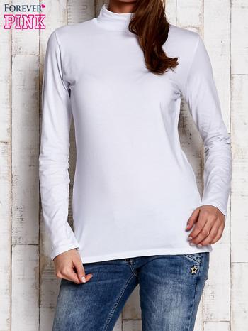 Biała gładka bluzka z półgolfem                                  zdj.                                  1