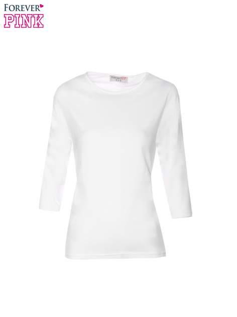 Biała gładka bluzka z rękawem 3/4                                  zdj.                                  5