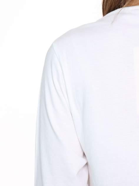 Biała gładka bluzka z rękawem 3/4                                  zdj.                                  8