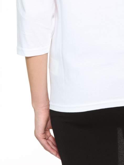 Biała gładka bluzka z rękawem 3/4                                  zdj.                                  9