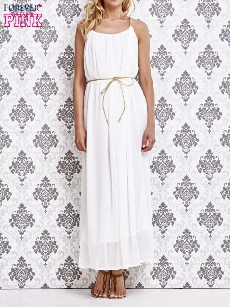 Biała grecka sukienka maxi ze złotym paskiem