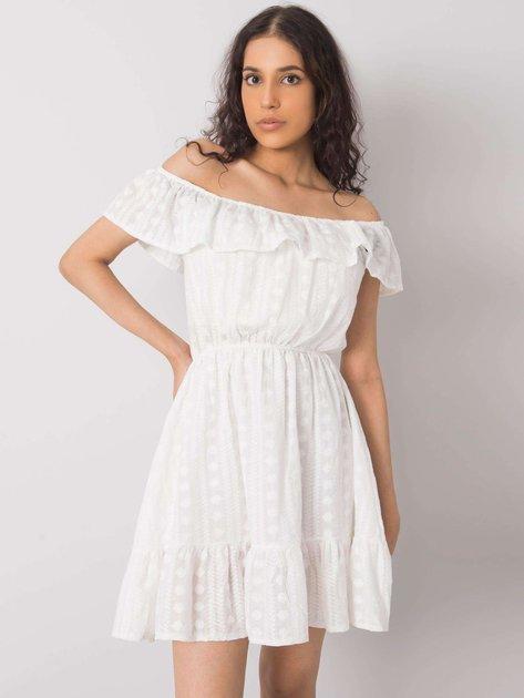 Biała haftowana sukienka Sefika