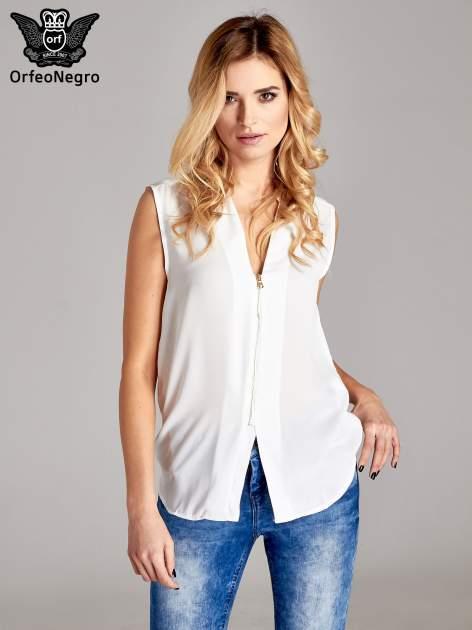 Biała koszula V-neck z suwakiem