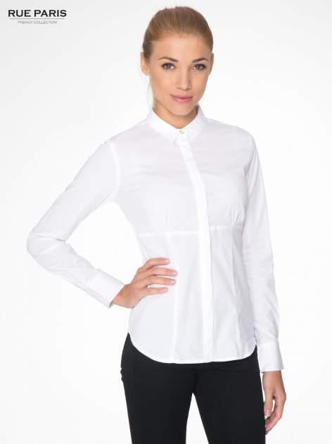 Biała koszula damska odcinana pod biustem z marszczeniem                                  zdj.                                  1
