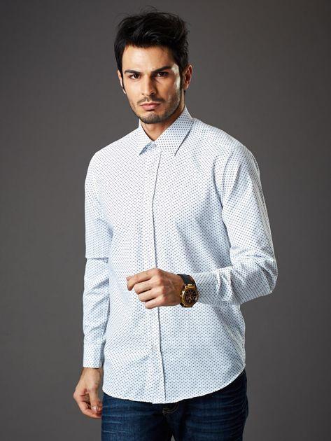 Biała koszula męska o klasycznym kroju we wzory                              zdj.                              5