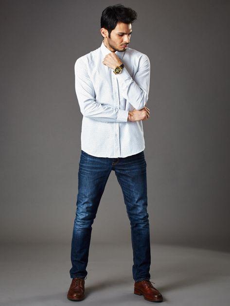 Biała koszula męska o klasycznym kroju we wzory                              zdj.                              7