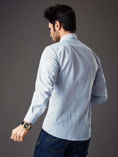 Biała koszula męska o prostym kroju w drobny wzór                              zdj.                              2