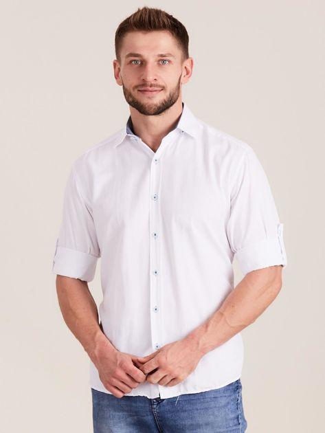 Biała koszula męska o regularnym kroju                              zdj.                              1