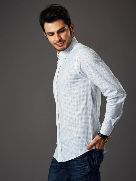 Biała koszula męska regular fit w drobne geometryczne wzory                              zdj.                              3