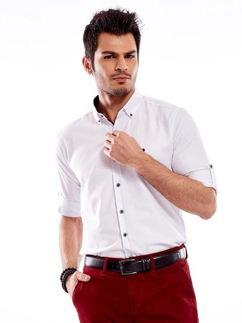 Biała koszula męska regular fit z podwijanymi rękawami                               zdj.                              6