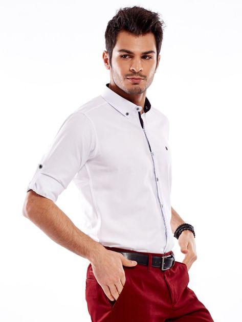 Biała koszula męska regular fit z podwijanymi rękawami                               zdj.                              12