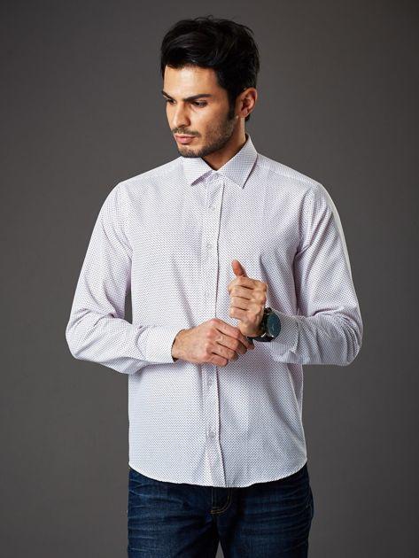 Biała koszula męska w kropki regular fit                              zdj.                              5