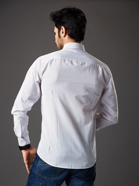 Biała koszula męska w granatowo-czerwone kropki regular fit                              zdj.                              2