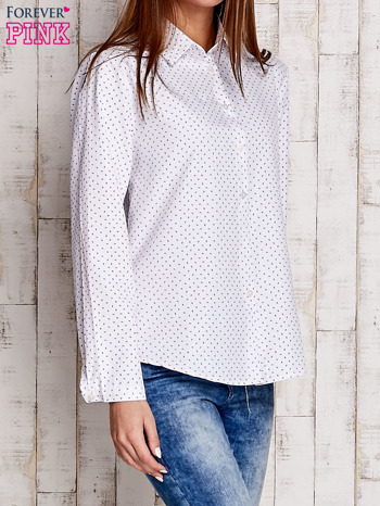 Biała koszula w drobne listki                                  zdj.                                  3