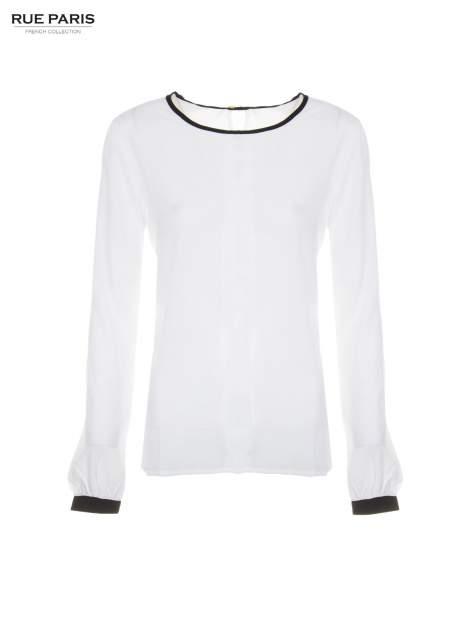 Biała koszula z kontrastową lamówką przy dekolcie i mankietami                                  zdj.                                  5