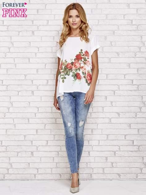 Biała koszula z motywem kwiatów                                  zdj.                                  2