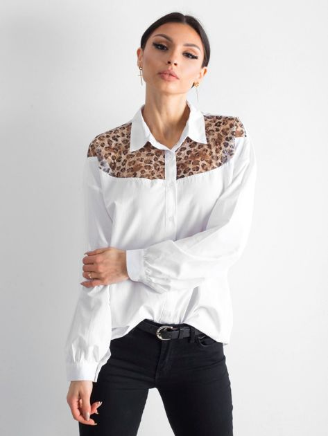 Biała koszula z panterkową wstawką                              zdj.                              1