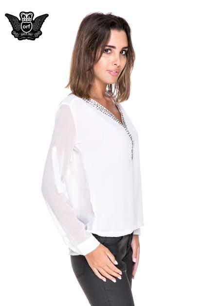Biała koszula z transparentnymi rękawami i dżetami przy dekolcie                                  zdj.                                  3