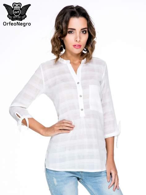 Biała koszula z wiązaniem przy rękawach                                  zdj.                                  1