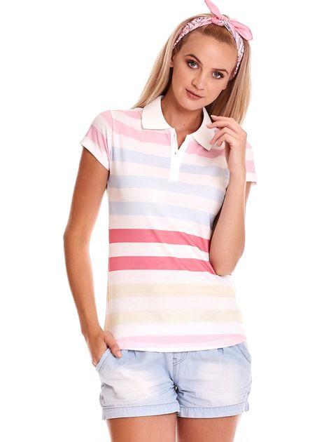 Biała koszulka polo w kolorowe paski                              zdj.                              1