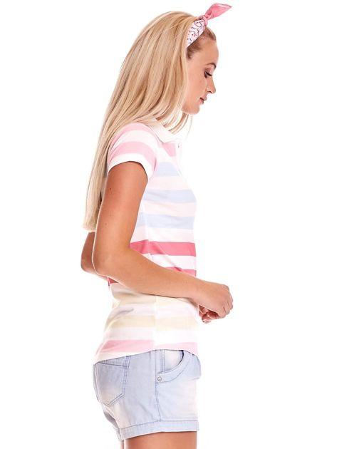 Biała koszulka polo w kolorowe paski                              zdj.                              3