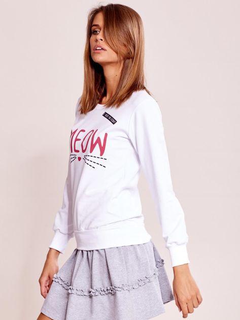 Biała lekka bluza z napisem MEOW                              zdj.                              6