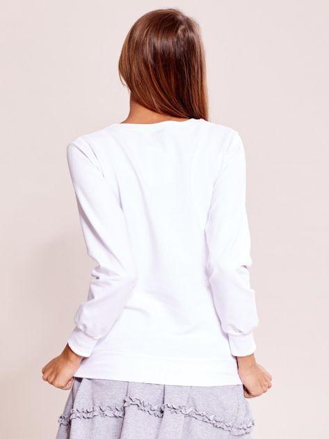Biała lekka bluza z napisem MEOW                              zdj.                              2