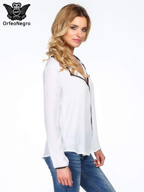 Biała minimalistyczna koszula z czarną listwą                                  zdj.                                  3