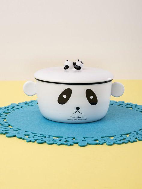 Biała miska ceramiczna z motywem pandy                              zdj.                              1