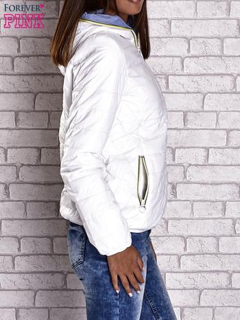 Biała ocieplana kurtka z kontrastowym wykończeniem kaptura                                  zdj.                                  4