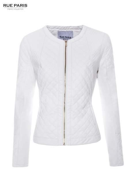 Biała pikowana kurtka ze skóry                                  zdj.                                  5