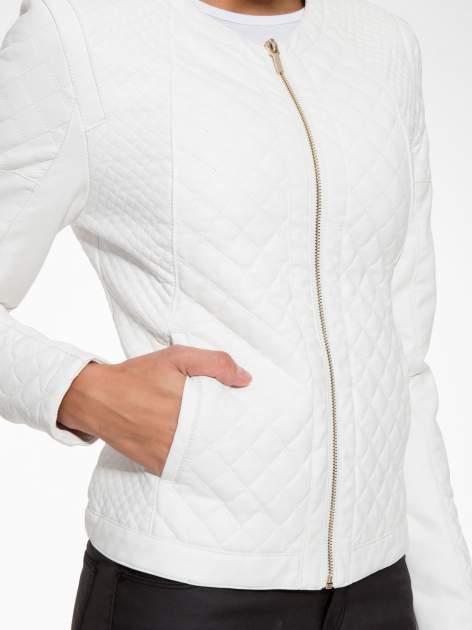 Biała pikowana kurtka ze skóry                                  zdj.                                  8