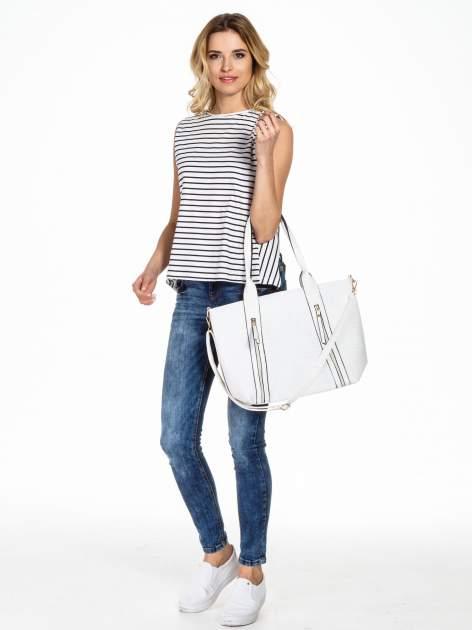 Biała pleciona torebka z suwakami                                  zdj.                                  6