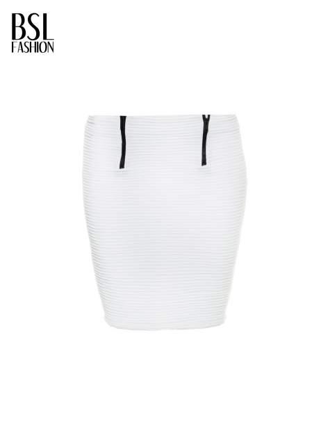 Biała prążkowana mini spódnica tuba z suwakami                                  zdj.                                  9