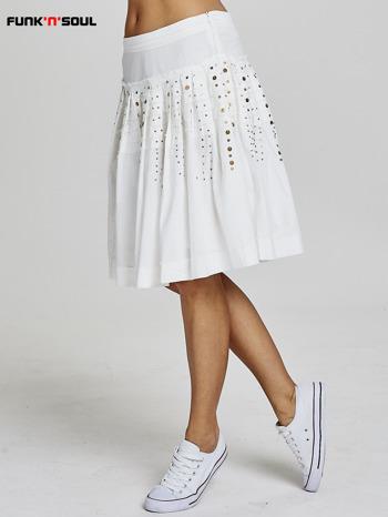 Biała rozkloszowana spódnica z cekinami Funk n Soul                                  zdj.                                  2