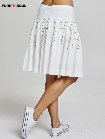 Biała rozkloszowana spódnica z cekinami Funk n Soul                                  zdj.                                  3