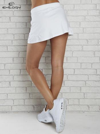 Biała spódnica dresowa z falbanką i troczkiem                                  zdj.                                  2