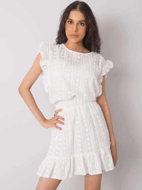 Biała spódnica z falbaną Leane