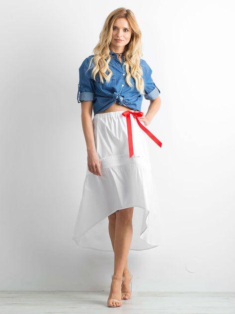 Biała spódnica z troczkami BY O LA LA                              zdj.                              4