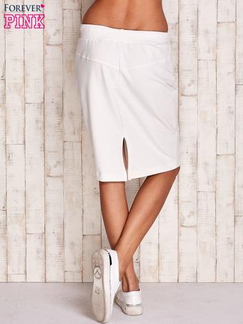 Biała spódnica z troczkami i kieszeniami                                  zdj.                                  3
