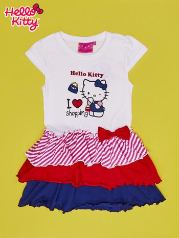 Biała sukienka dla dziewczynki z kolorowymi falbankami HELLO KITTY                                  zdj.                                  1