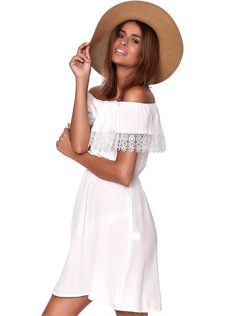 Biała sukienka hiszpanka mini z falbanką przy dekolcie                              zdj.                              3
