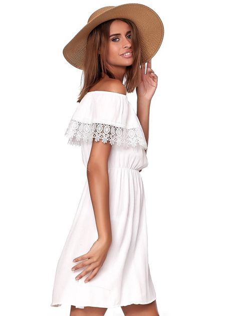 Biała sukienka hiszpanka mini z falbanką przy dekolcie                              zdj.                              5